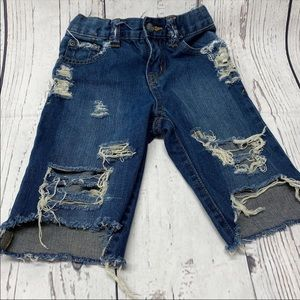 3t distressed denim shorts